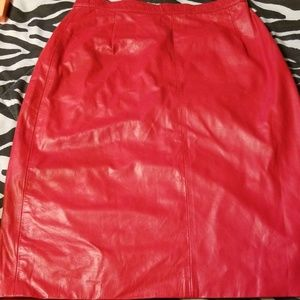 Dresses & Skirts - Red Leather Skirt
